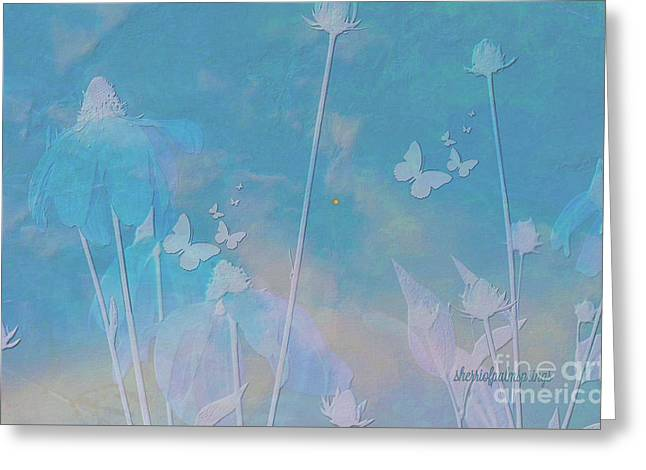 Blue Daisies And Butterflies Greeting Card