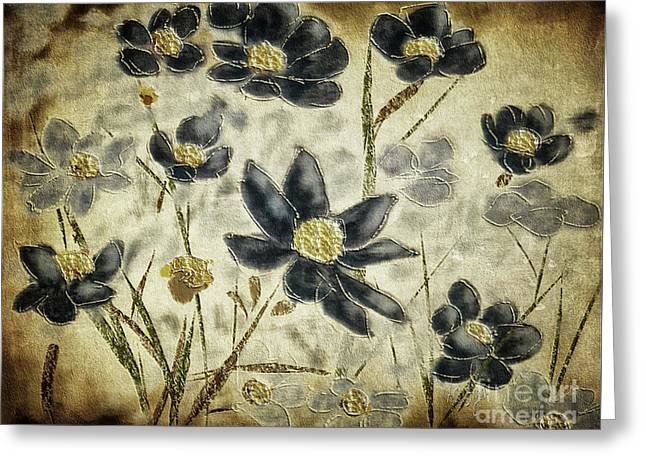 Blue Daisies Greeting Card by Lois Bryan