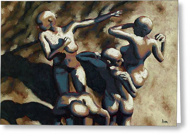 Blue Dancers Greeting Card by Leo Mazzeo