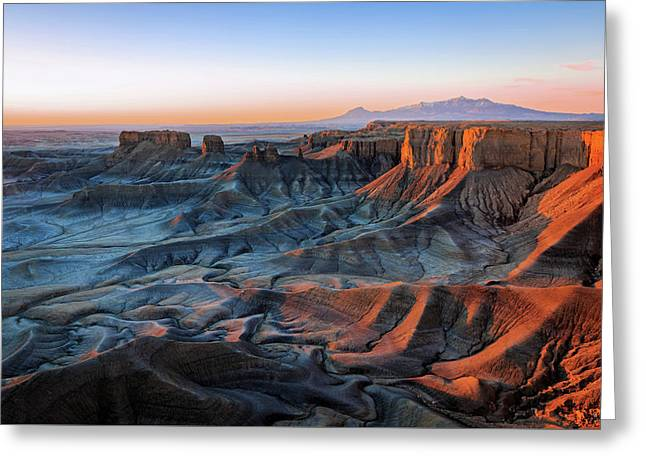 Greeting Card featuring the photograph Blue Dawn In The Cainville Badlands. by Johnny Adolphson