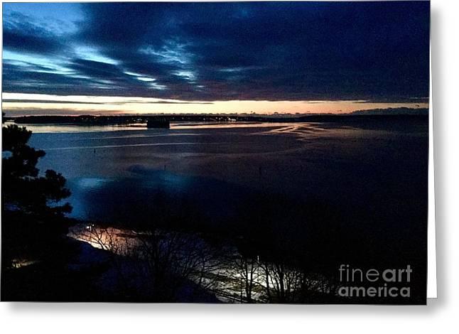 Blue Dawn On Casco Bay Greeting Card