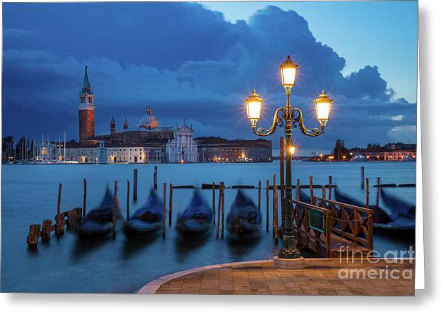 Greeting Card featuring the photograph Blue Dawn Over Venice by Brian Jannsen