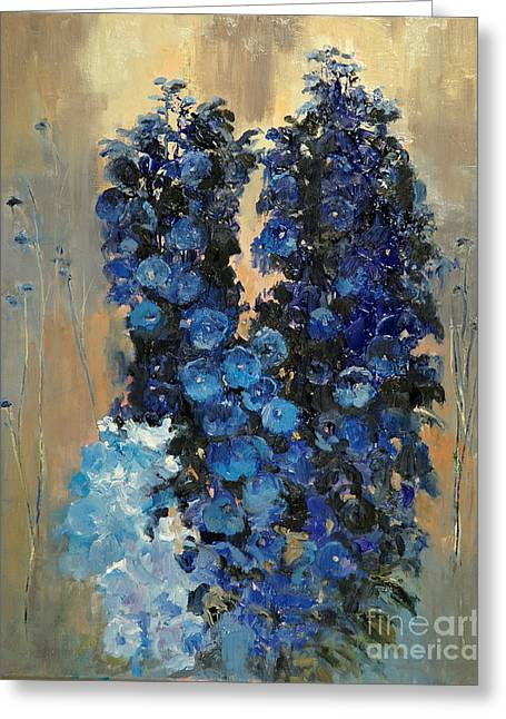 Blue Delphiniums For Nancy Greeting Card