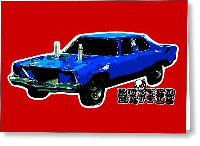 Blue Demo Derby Car Greeting Card
