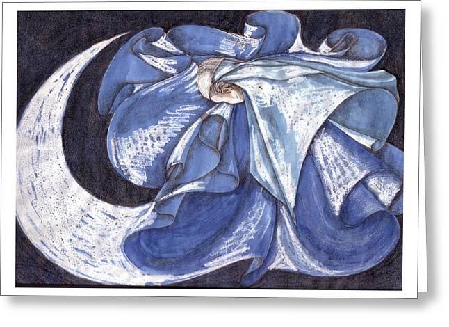 Blue Derwish Greeting Card by Amrei Al-Tobaishi-Jarosch