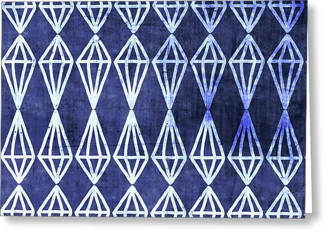 Blue Diamond Stripe- Art By Linda Woods Greeting Card by Linda Woods