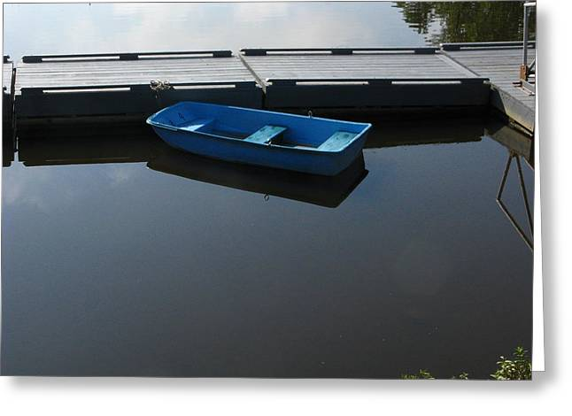 Blue Dinghy Quiet Waters Greeting Card