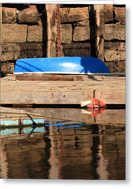 Blue Dingy Greeting Card
