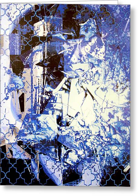 Blue Discussion Greeting Card by Bobby Zeik