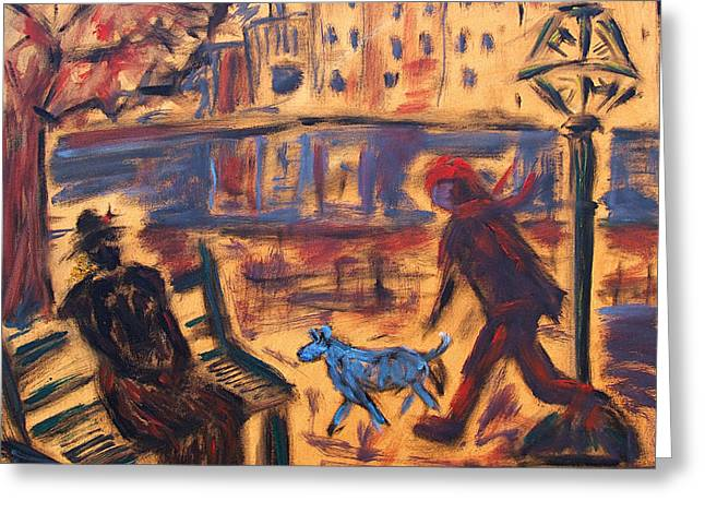 Blue Dog In The City Greeting Card
