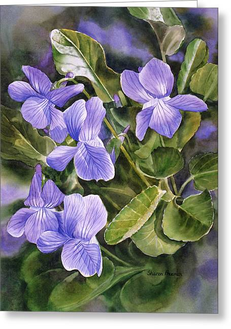 Blue Dog Violets Greeting Card by Sharon Freeman