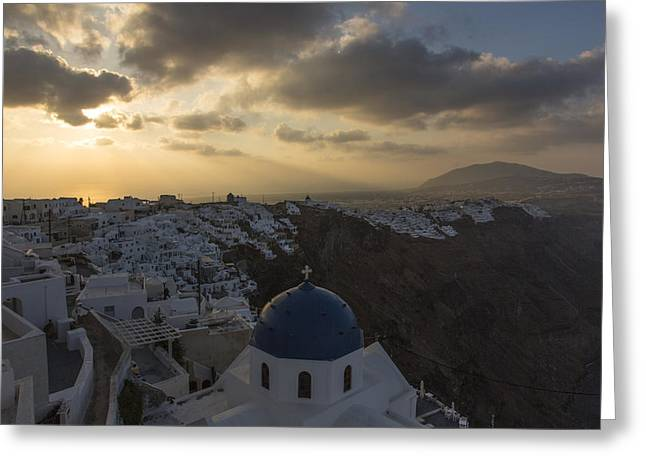 Greeting Card featuring the tapestry - textile Blue Dome - Santorini by Kathy Adams Clark