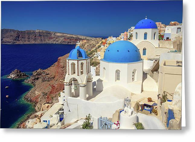 Blue Domed Churches Greeting Card by Emmanuel Panagiotakis