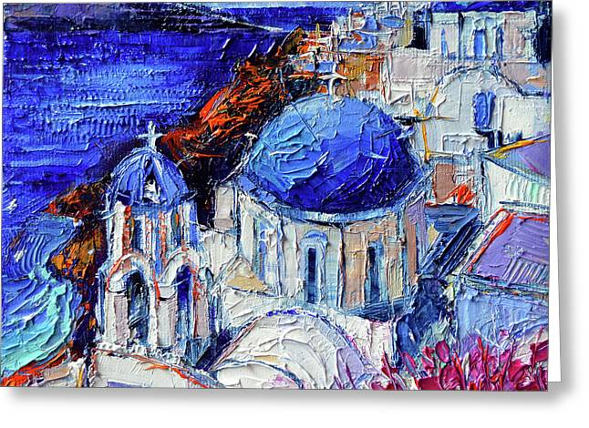 Blue Domed Churches In Oia Santorini - Mini Cityscape 08 - Palette Knife Oil Painting Greeting Card