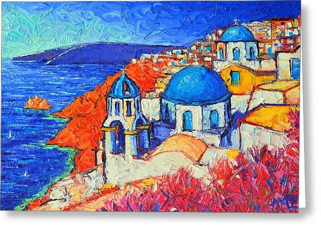 Blue Domes In Oia Santorini Greece Original Impasto Palette Knife Oil Painting By Ana Maria Edulescu Greeting Card