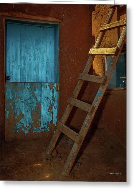 Blue Door And Ladder - Taos Pueblo Greeting Card