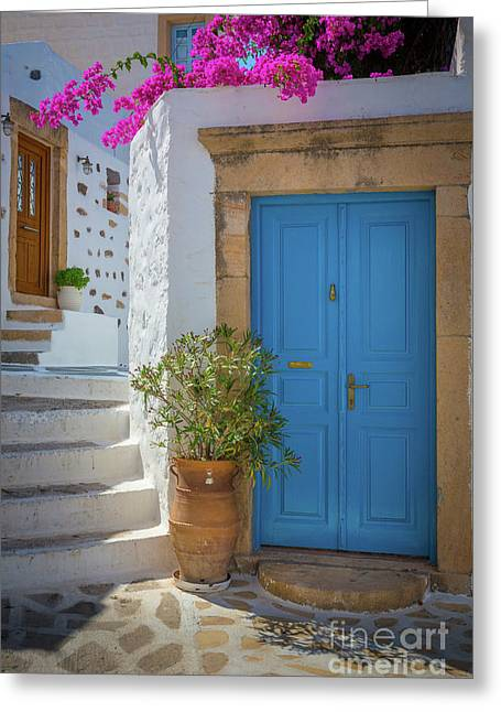 Blue Door And Stairs Greeting Card