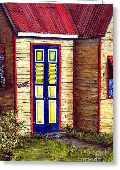 Blue Door Greeting Card by Anna-Maria Dickinson