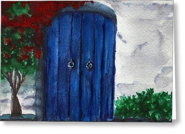 Blue Door Greeting Card by Georgia Pistolis