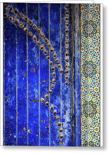 Greeting Card featuring the photograph Blue Door In Marrakech by Marion McCristall