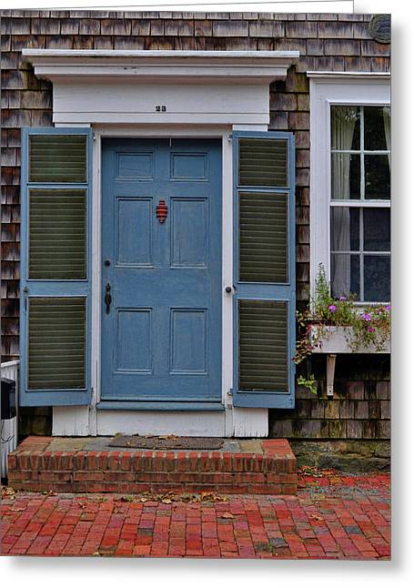 Nantucket Blue Door Greeting Card by JAMART Photography