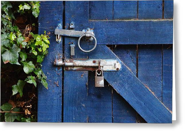 Blue Door Lock And Bolt Greeting Card by Jeff Townsend