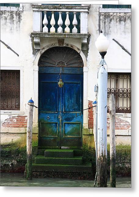 Blue Door On Grand Canal In Venice Greeting Card by Michael Henderson