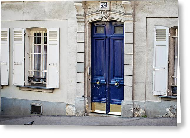 Greeting Card featuring the photograph Blue Door - Paris, France by Melanie Alexandra Price