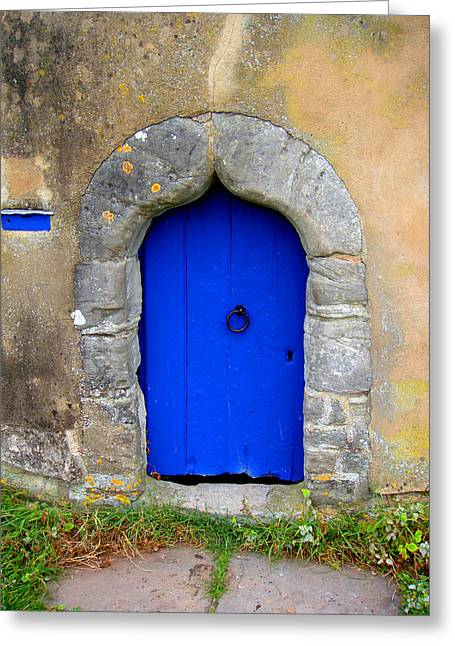 Blue Door Greeting Card by Roberto Alamino