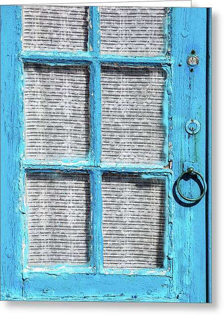 Blue Door Window With White Lace Greeting Card