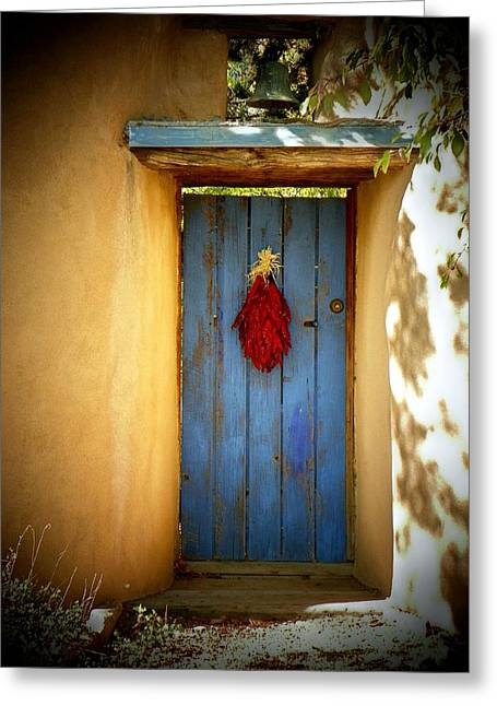 Blue Door With Chiles Greeting Card