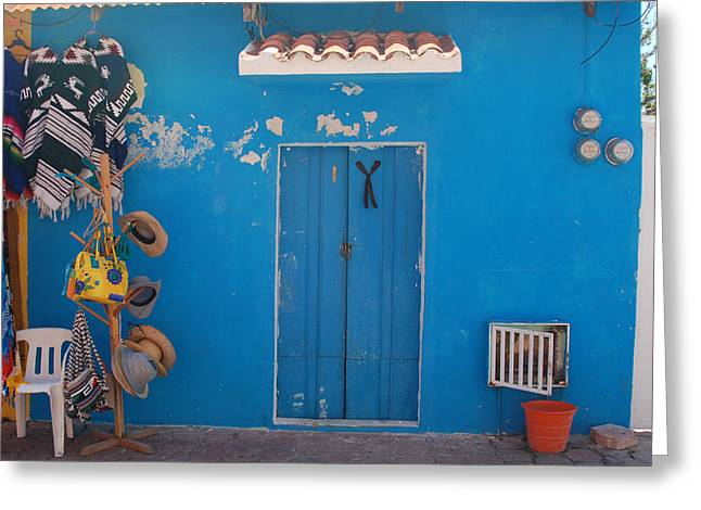 Blue Doors In Mexico Greeting Card by Mary Pearson