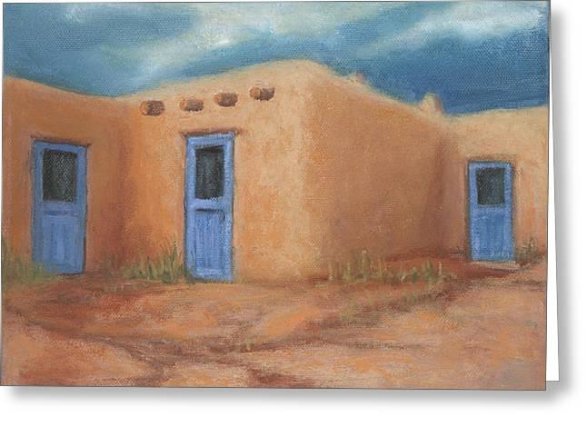 Blue Doors In Taos Greeting Card