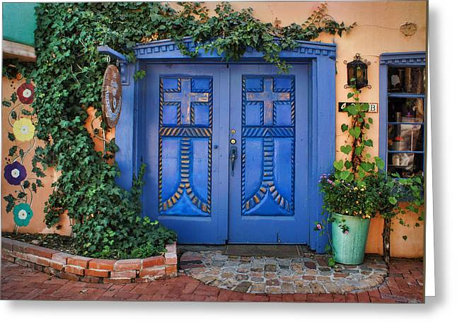 Blue Doors - Old Town - Albuquerque Greeting Card by Nikolyn McDonald