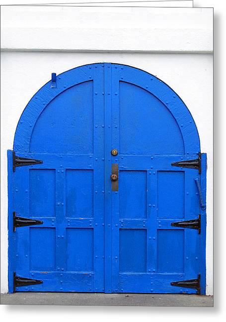 Blue Doors St. Spiridon Orthodox Cathedral Seattle Washington Greeting Card by Richard Singleton