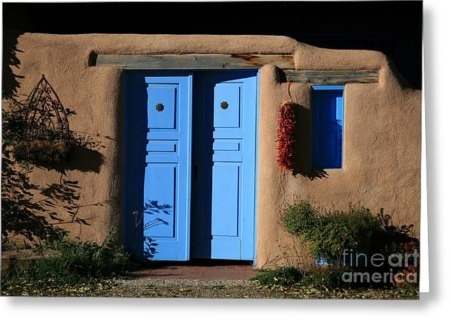 Blue Doors Greeting Card by Timothy Johnson