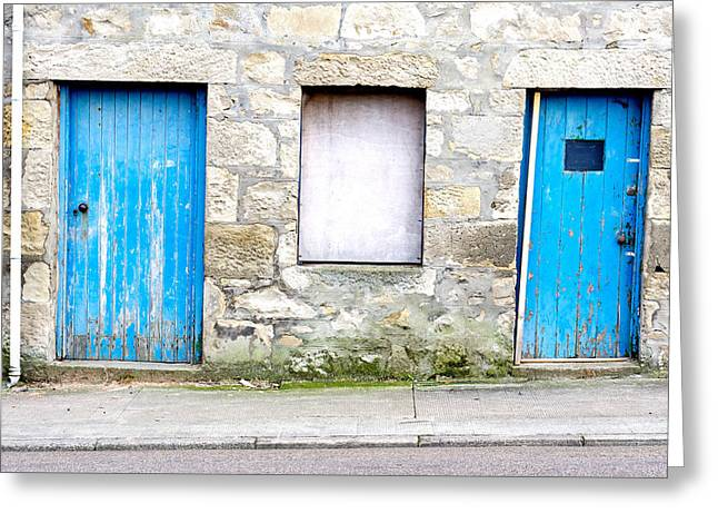 Blue Doors Greeting Card by Tom Gowanlock
