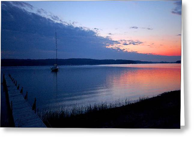 Blue Downtime Greeting Card by Michael Thomas
