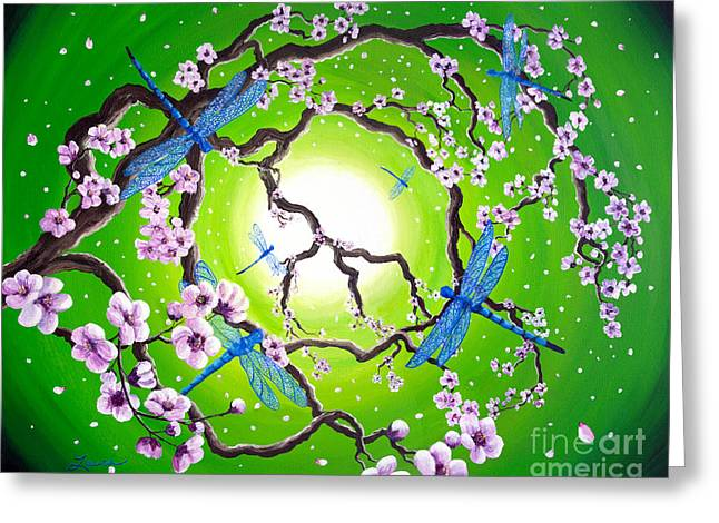 Blue Dragonflies In The Spring Greeting Card by Laura Iverson