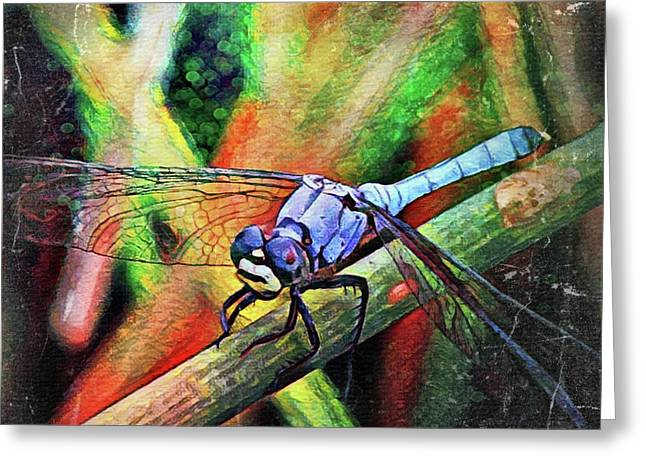 Greeting Card featuring the painting Blue Dragonfly by David Mckinney