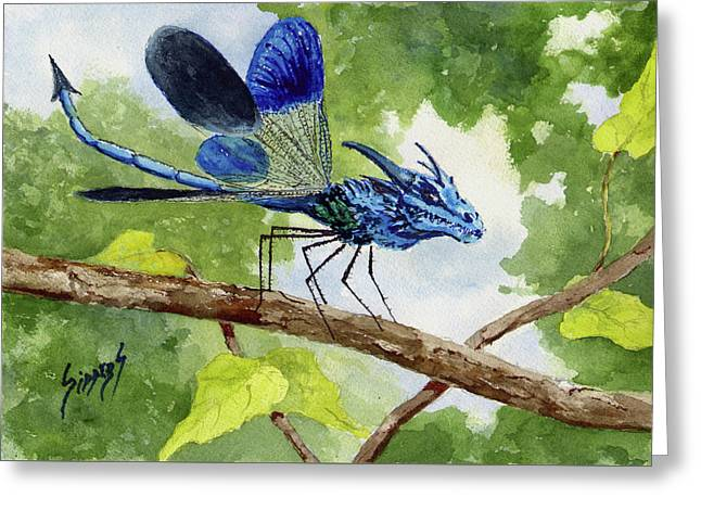 Greeting Card featuring the painting Blue Dragonfly by Sam Sidders