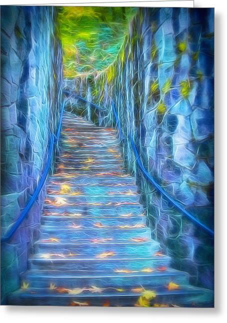 Blue Dream Stairway Greeting Card
