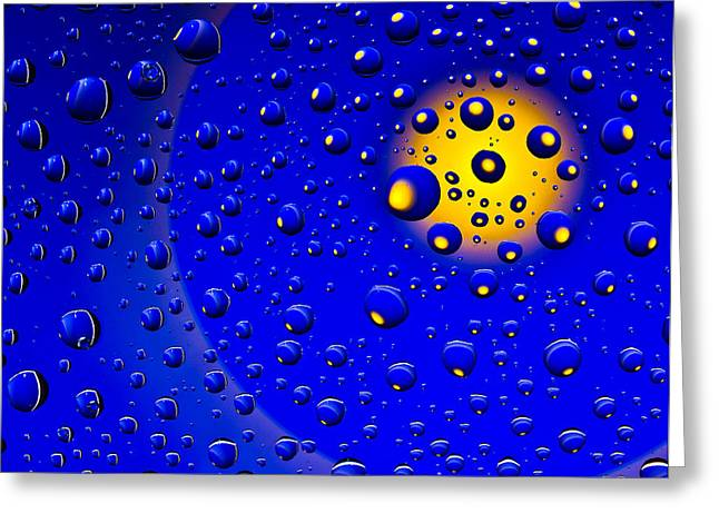 Blue Drops Greeting Card by Vladimir Kholostykh
