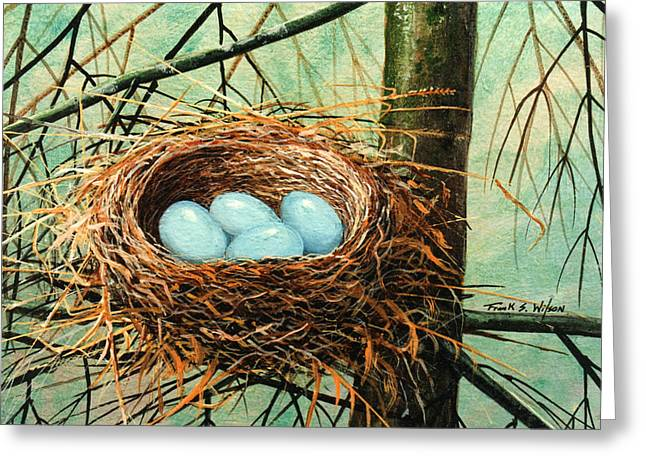 Blue Eggs In Nest Greeting Card by Frank Wilson