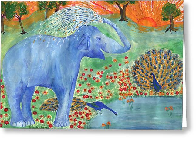 Blue Elephant Squirting Water Greeting Card by Sushila Burgess