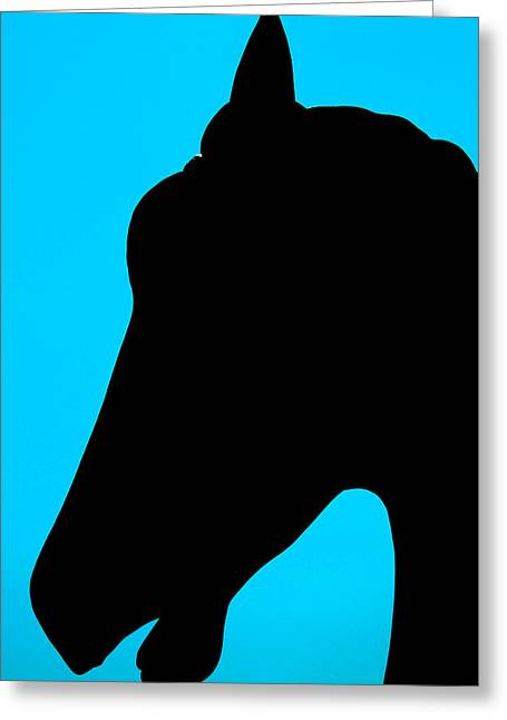 Blue Equus Greeting Card by JoAnn Lense