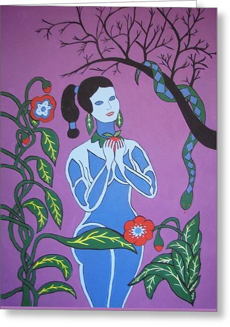 Greeting Card featuring the painting Blue Eve  No. 2 by Stephanie Moore