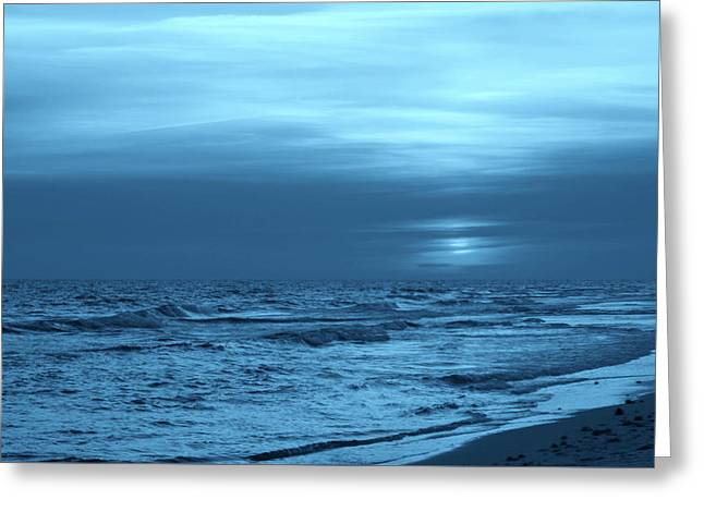 Blue Evening Greeting Card by Sandy Keeton