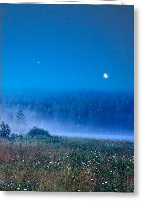 Blue Evening Greeting Card by Vladimir Kholostykh