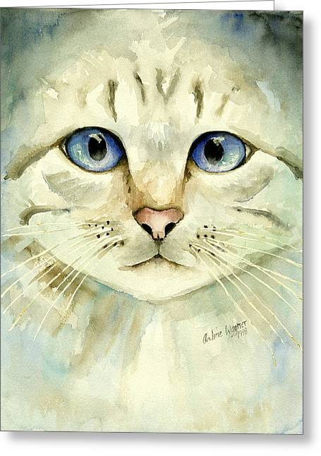 Blue-eyed Cat Greeting Card by Arline Wagner